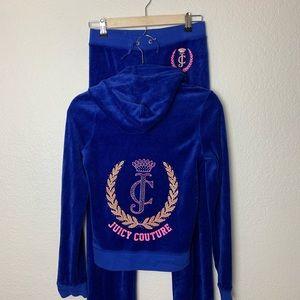 Juicy Couture: 2 Piece Track Suit Blue Velour XXS